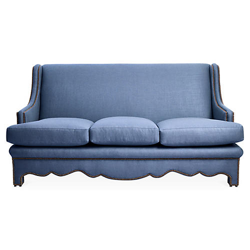 Nailhead Sofa, Cornflower Blue Linen