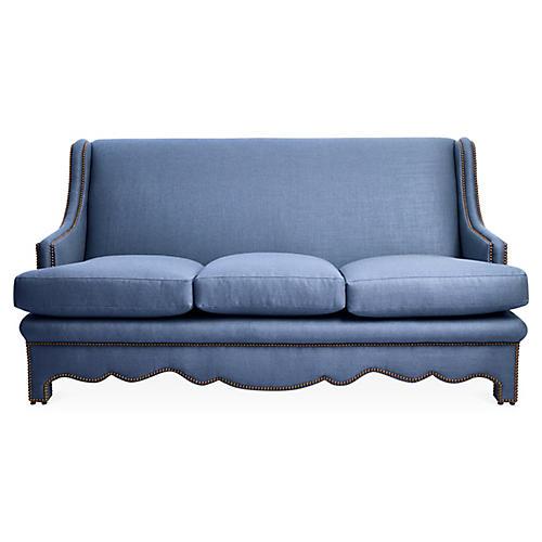 Nailhead Sofa, Cornflower Blue Linen