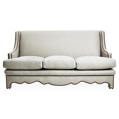 Nailhead Sofa, Natural Linen