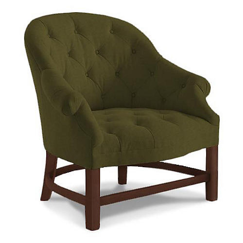 T42 Accent Chair, Olive Velvet