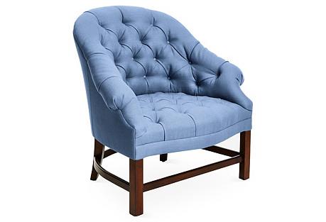 T42 Chair, Cornflower Linen