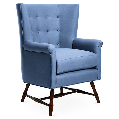Westcott Wingback Chair, Cornflower Blue Linen