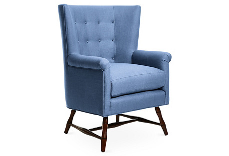 Westcott Wingback Chair, Cornflower Blue