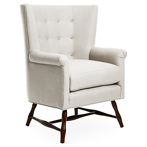 Westcott Wingback Chair, Natural Linen