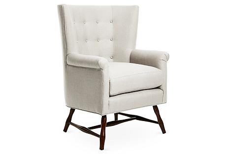 Westcott Wingback Chair, Natural Linen