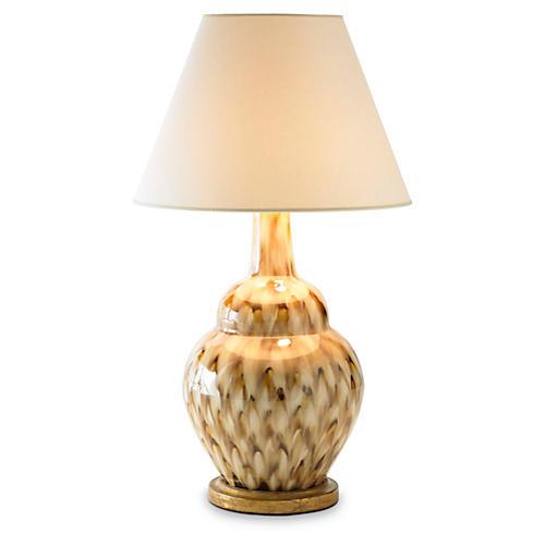 Pheasant Feather Lamp, Brown/Cream
