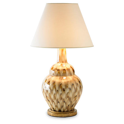 Pheasant Feather Lamp, Brown/Cream