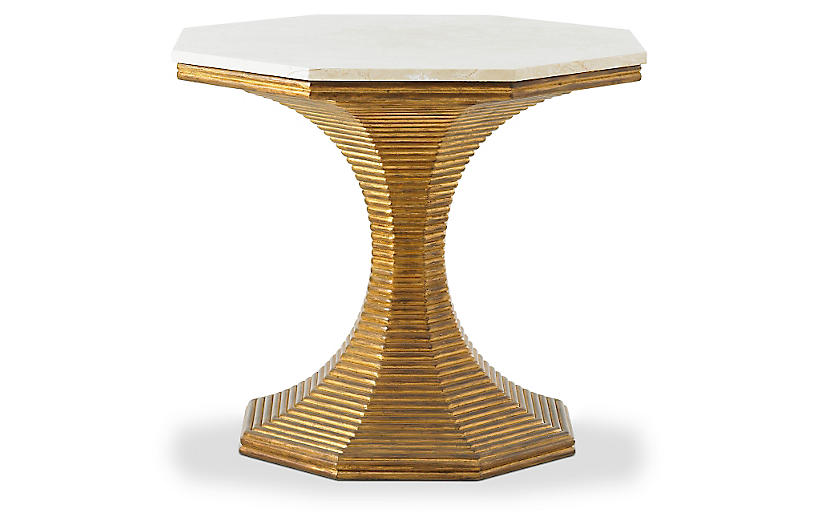 Hourglass Side Table, Gold
