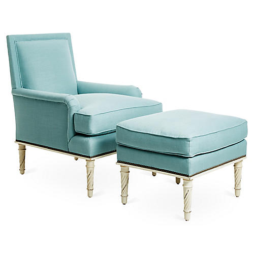 Azzure Chair & Ottoman Set, Blue