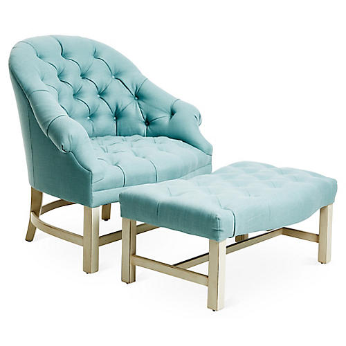 Tufted Chair & Ottoman Set, Alpine/Blue Linen