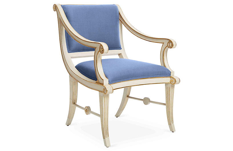 Star Accent Chair, Cornflower Blue Linen