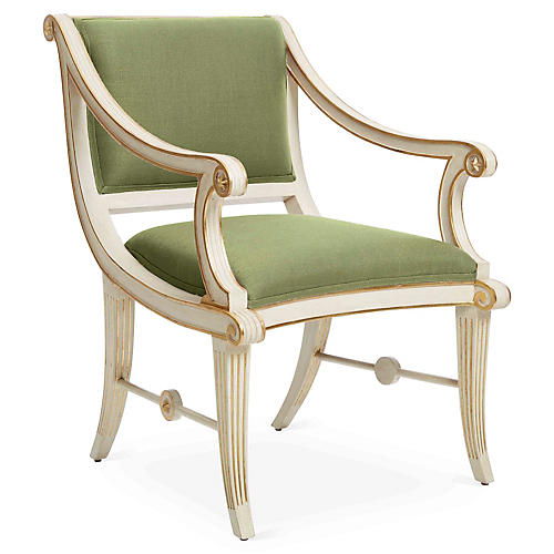 Star Accent Chair, Green Linen