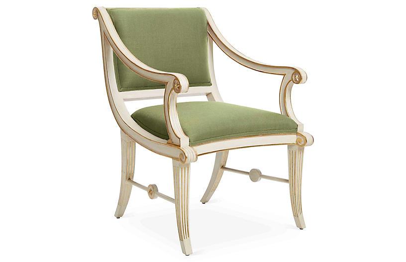Star Accent Chair, Green Linen