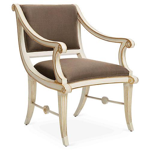 Star Accent Chair, Brown Linen