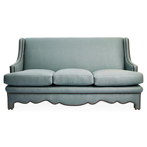 Nailhead Sofa, Sea Blue Linen
