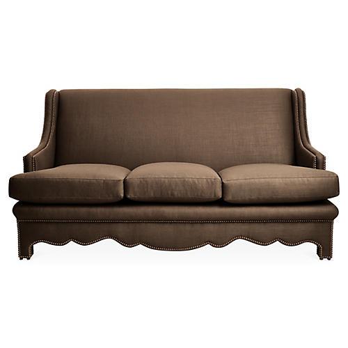 Nailhead Sofa, Brown Linen