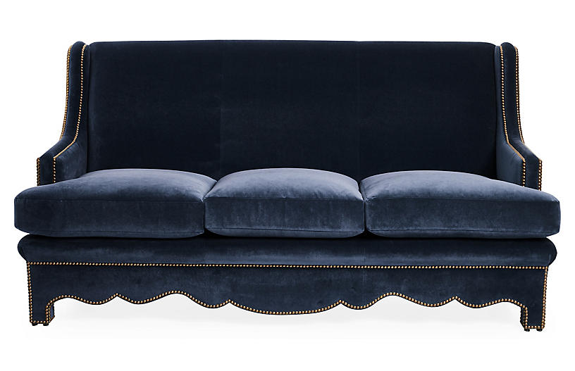 Nailhead Sofa, Denim Velvet