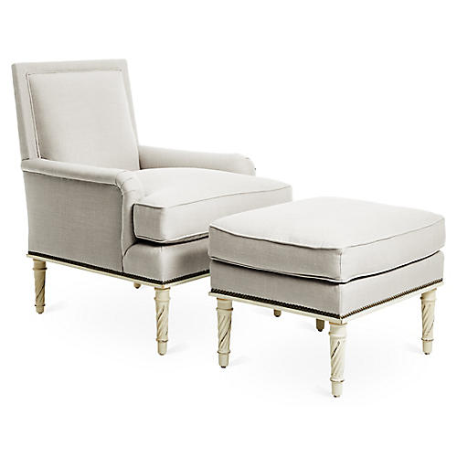 Azure Accent Chair & Ottoman Set, Natural