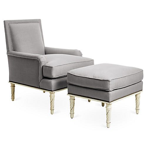 Azure Accent Chair & Ottoman Set, Gray