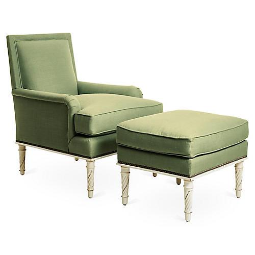Azure Accent Chair & Ottoman Set, Green