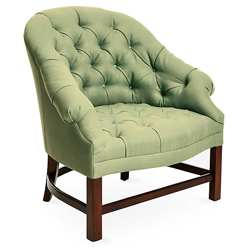 Tufted Accent Chair, Green Linen