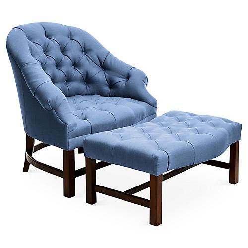 Tufted Chair & Ottoman Set, Cornflower/Java