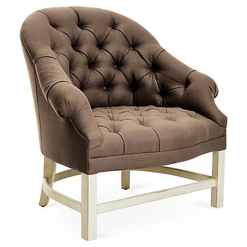Tufted Accent Chair, Alpine/Brown Linen
