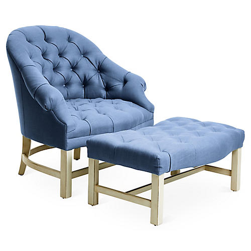 Tufted Chair & Ottoman Set, Cornflower