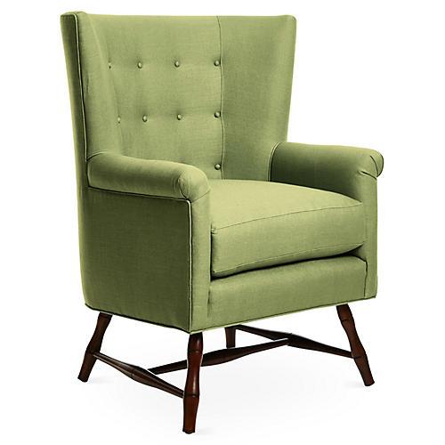 Westcott Wingback Chair, Green Linen