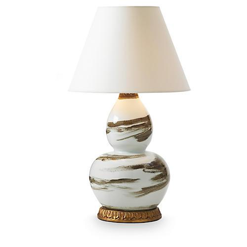 Brush Stroke Table Lamp, Brown/White