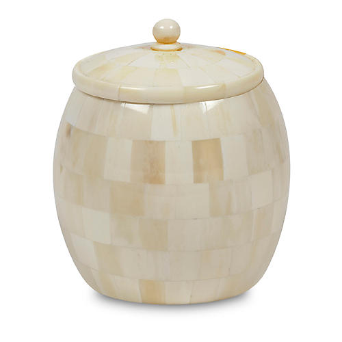 """6"""" Amala Candleholder, Ivory/White"""