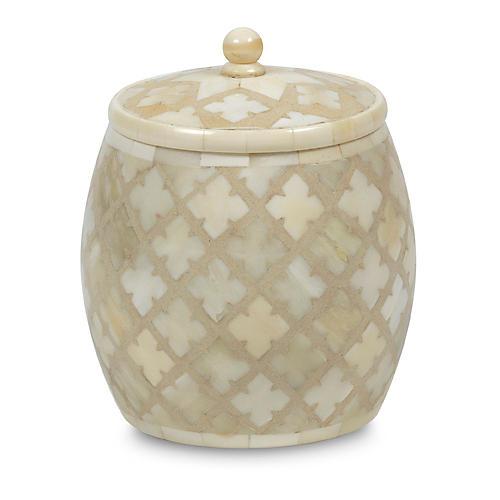 """6"""" Dalia Candleholder, Ivory/White"""
