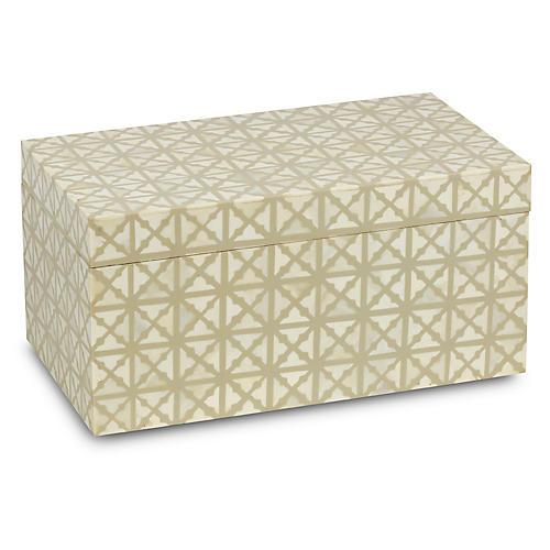 "14"" Ossi Box, Ivory/White"