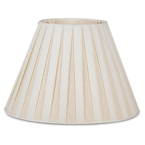Box-Pleated Lamp Shade, Off-White