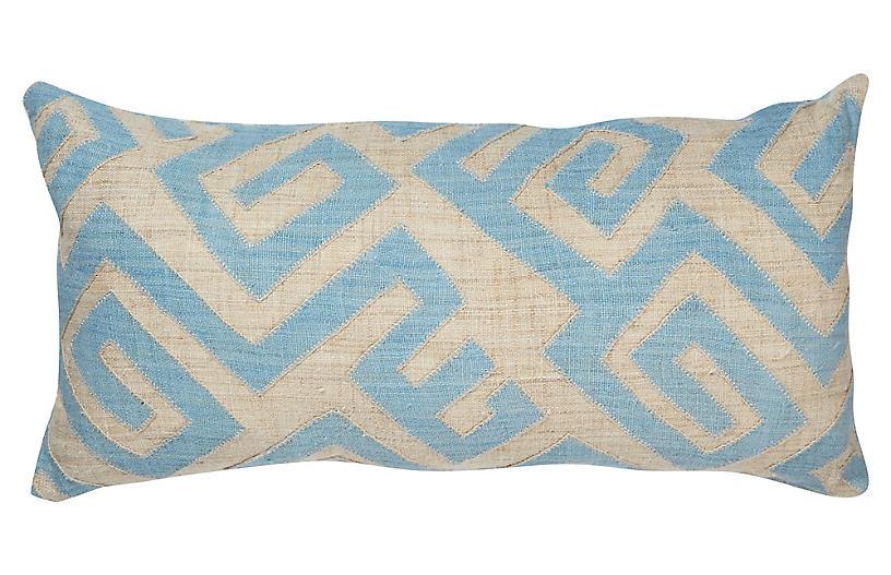 Bambala 13x26 Lumbar Pillow, Blue/Cream