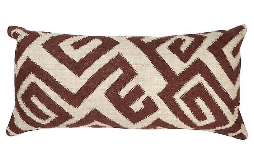 Bambala 13x26 Lumbar Pillow, Brown/Cream
