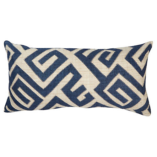 Bambala 13x26 Lumbar Pillow, Indigo/Cream