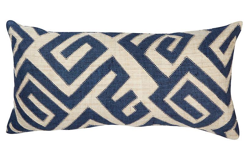 Bambala 13x26 Lumbar Pillow, Indigo/Cream