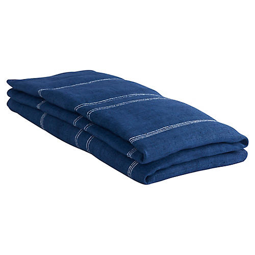 Desarae Hemp Throw, Indigo