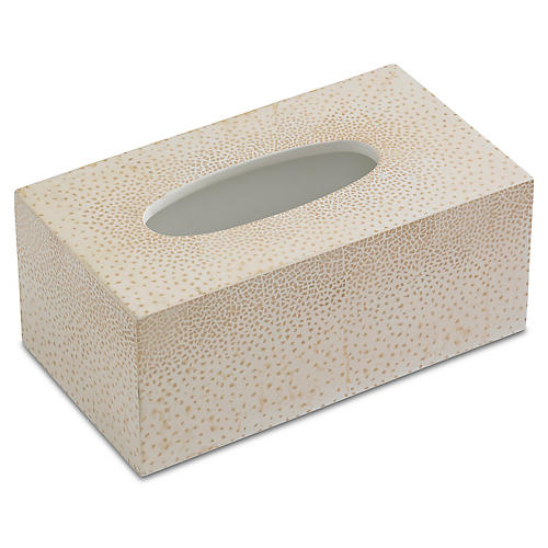 Dappled Tissue Box Cover, Cream
