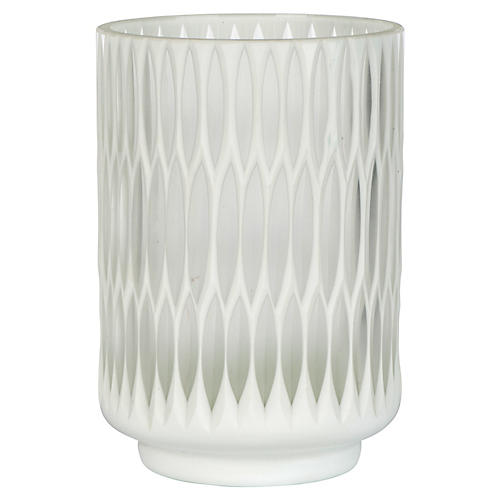 "8"" Modica Tall Candleholder, White/Opaque"