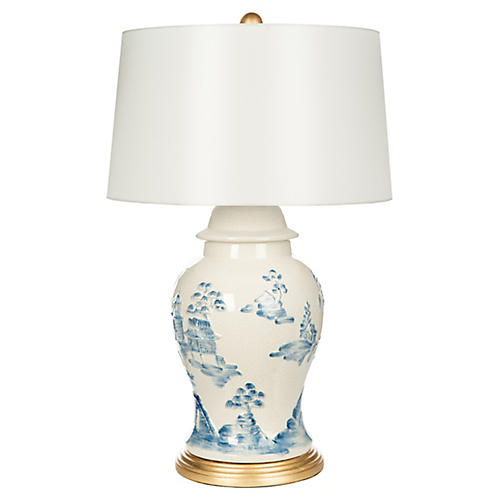 Asia Minor Table Lamp, Blue/Ivory