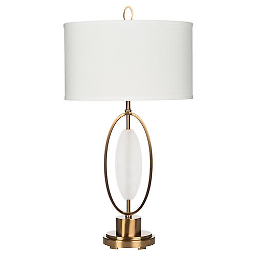 Delasol Alabaster Table Lamp, White/Gold