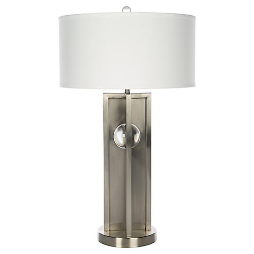 Compass Landing Table Lamp, Nickel/Clear
