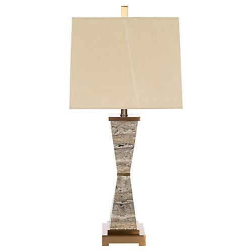Argosy Marble Table Lamp, Gray/Gold