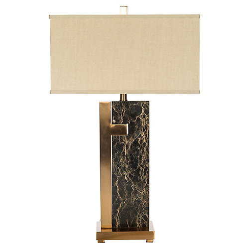 Barrington Marble Table Lamp, Black/Gold