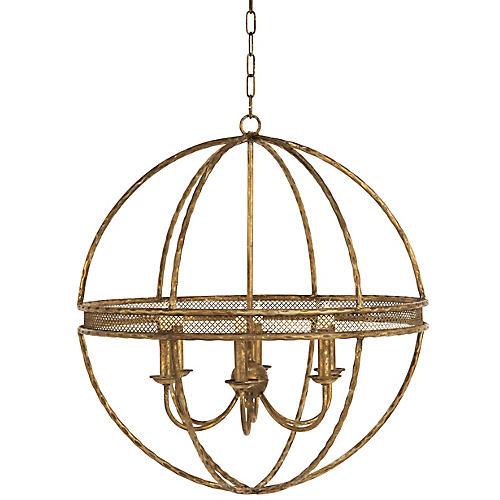 Sunglow Chandelier, Antiqued Gold