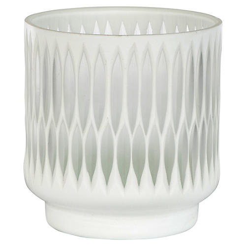 "6"" Modica Candleholder, White/Opaque"