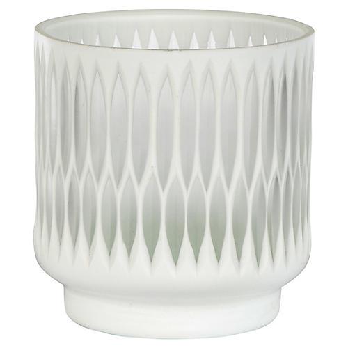 "6"" Modica Candleholder, White/Opaque"