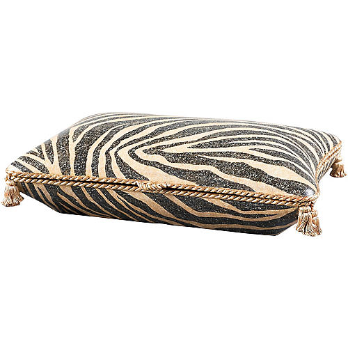 "17"" Zebra Box, Gold/Black"